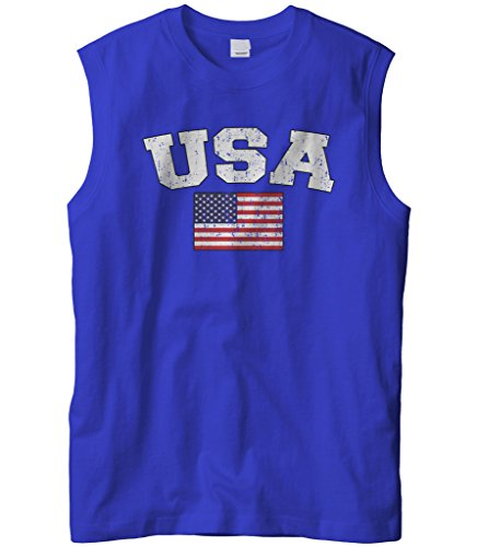 Cybertela Men's Faded Distressed USA Flag Sleeveless T-Shirt (Royal, 2X-Large)