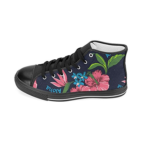 Interestprint Lace-up Red Floral Print Classic High Top Hombres Zapatillas Moda Fitness Canvas Zapatos