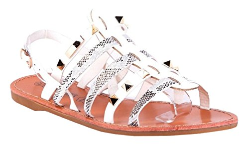 SHU CRAZY Womens Ladies Faux Leather Studded Slingback Open Toe Summer Fashion Sandals Shoes - P3 White BiGhwp2