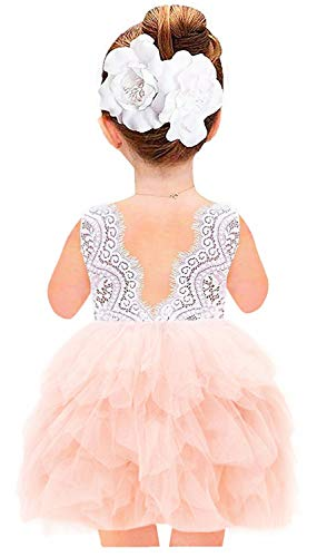 2Bunnies Girl Beaded Peony Lace Back A-Line Tiered Tutu Tulle Flower Girl Dress (Pink Sleeveless Short, 6 Months)