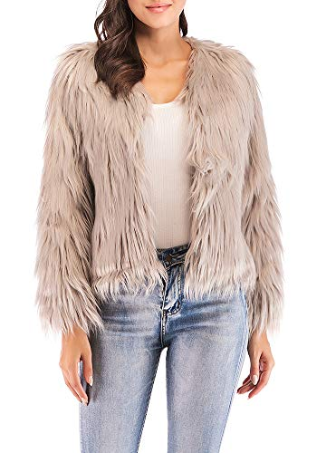 (Anself Women's Shaggy Faux Fur Coat Solid Color Long Sleeve Short Jacket Khaki)