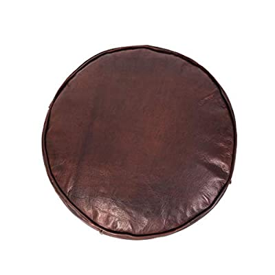 """moroccan pouf leather Leather Pouf Ottoman Morrocan Pouf ottomanMoroccan Tabouret Leather Pouf Ottoman Luxury Leather Color Brown darker18 Diameter and 16"""" Height Pouf unstuffed just Cover"""