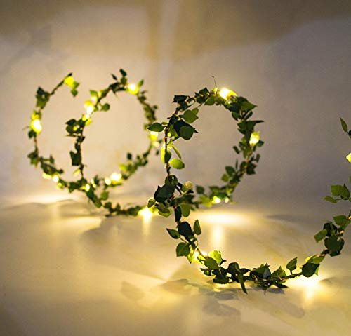 Beaumode 20LEDs Warm White Tiny Leaf Garland Holiday Copper Battery Powered Fairy String Lights Christmas Party Year Wedding Garden Décor (Warm White)