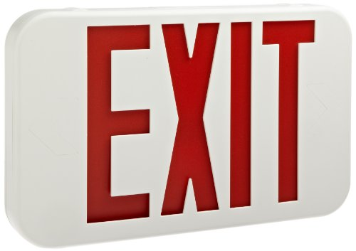 Morris Products 73012 LED Exit Sign, Standard Type, Red LED Color, White Housing