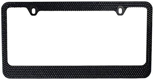 BLVD-LPF OBEY YOUR LUXURY  Popular Bling 7 Row Black Color Crystal Metal Chrome License Plate Frame With Screw Caps - 1 Frame