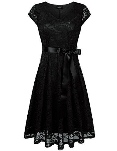 FAVOLOOK Party Dresses For Women,Ladies Formal Occasion Knee Length Swing Lace Dress With Belt from FAVOLOOK