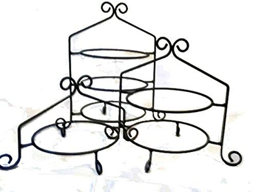 3 Pc Set - Hand Wrought Black Iron Cupcake Pie Plate Holder Rack Stand USA Made