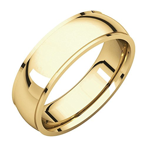 14k Yellow Gold 7mm Inside Round Edge Comfort Fit Band , 14kt Yellow gold, Ring Size 13 14kt Gold Comfort Fit Band