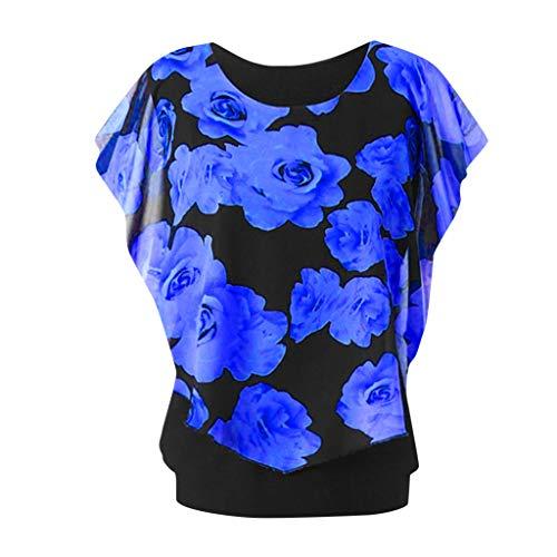 Aniywn Women's Round Neck Plus Size Short Sleeve Print Top Double Layer Chiffon T-Shirt Blue