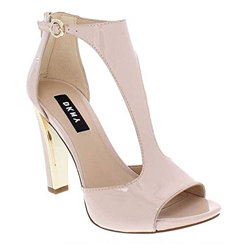 Dkny Womens Leather - DKNY Womens Colby Leather Peep Toe Special Occasion T-Strap, Pink Pnk, Size 7.0