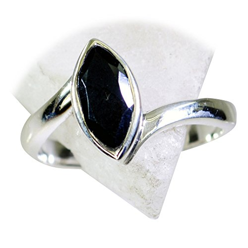 55Carat Genuine Black Onyx Ring Sterling Silver Marquise Shape Astrology US 4,5,6,7,8,9,10,11,12