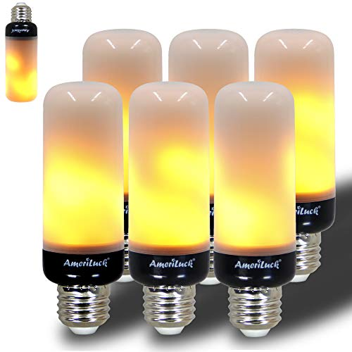 AmeriLuck Slim Design LED Flame Bulb, Black Base, Auto Reverse Gravity Sensor, Realistic Flickering Fire Effect, Christmas Decoration Light, Perfect for Any E26 Lighting Fixtures, 6 Pack