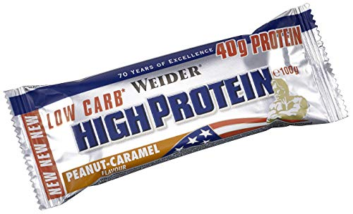 Weider Peanut Caramel 100g 40 Percent Protein Low Carb Bar - Bars by Weider