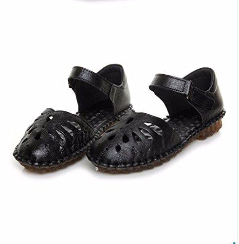KPHY Verano Sandalias Zapatos De Fondo Suave Madre Vaciado Cueva Shoes Velcro Zapatos De Mujer Antideslizante. gules