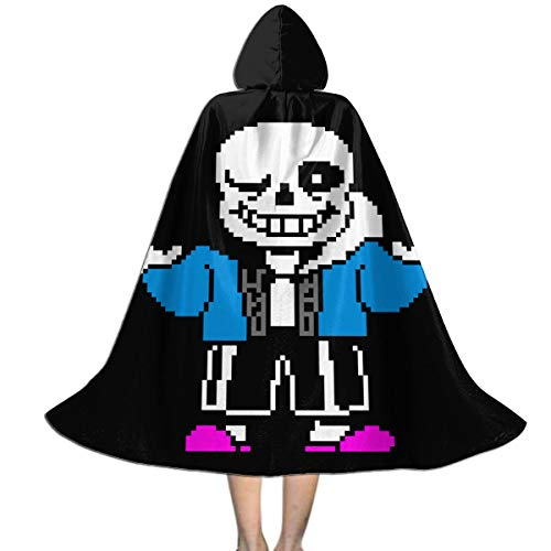 Kid Halloween Christmas Party Undertale Sans Hooded Cloaks Cape Robe for Boy Girl Black