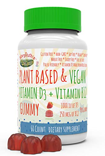 Vegan Vitamin D3+B12 Gummy (Plant-Based) by MaryRuth's Made from Lichen! Non-GMO Vegan Paleo Friendly Gluten Free for Men, Women & Children 1000 IUs of Vitamin D3 & 250 mcg of Vitamin B12 60 Count