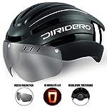 41g25TGjK5L. SS150 DIRIDERO Casco Bici Luce LED, Certificato CE, Casco con Visiera Magnetica Staccabile, Casco da Bici Super Leggero, Casco…