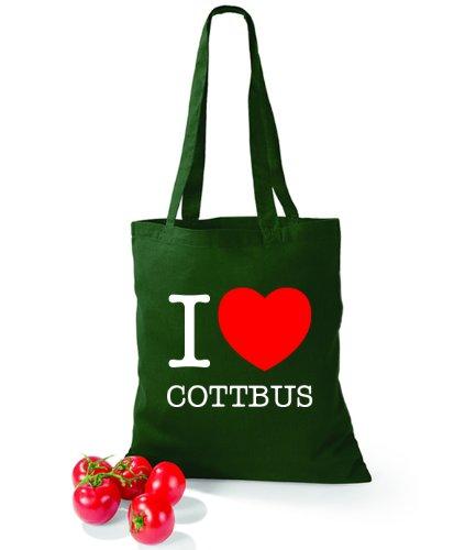 Artdiktat Baumwolltasche I love Cottbus Bottle Green