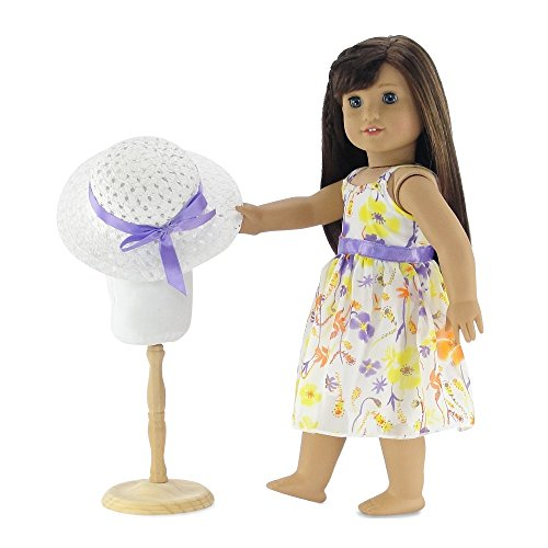 18 Inch Doll Clothes | Gorgeous Floral Spring Easter Dress with Purple Trim, Including White Hat with Matching Ribbon | Fits 18