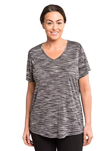 RBX Active Women's Plus Size Space Dye Drop Shoulder Tee Black and White Combo 2X