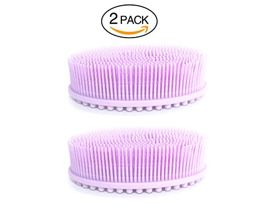 (2 Pack) Silicone Body Brush, Silicone Back Scrubber, Silicone Sponge, Bristle Sponge, Silicone Sponge Scrubber, Bath Accessories, Shower Loofah for Men and for Women