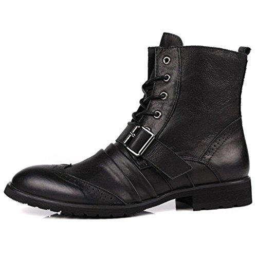 Martin Scarpe Scarpe High Tendenza Scarpe Testa Stringate Coreane Britanniche Stivali Black Rotonda Scarpe Stivaletti Chelsea NIUMJ Top di Moda pq1XS4X