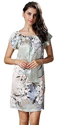 Farbe Vestido Redondo Floreadas Pijama Mujer Verano De Fashion Vintage Corta Sn Camisón Camisones Cuello Elegantes Cómodo Manga Dormir Anchas Casual Modernas IxqHBfx6