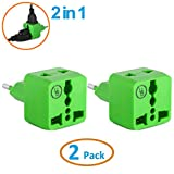 European Plug Adapter by Yubi Power 2 in 1 Universal Travel Adapter with 2 Universal Outlets - 2 Pack - Green - Type C for Europe, France, Germany, Russia, Spain & more..