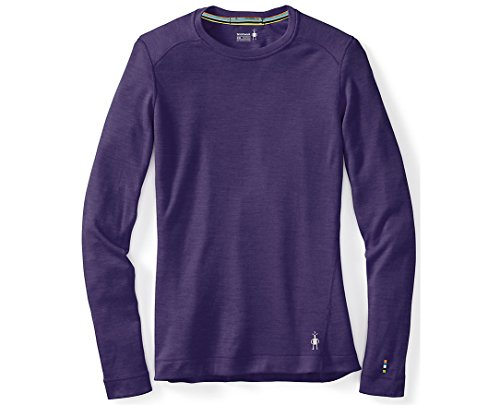 Smartwool Women's Base Layer Crew – Merino Wool 250 Long Sleeve Crew Neck Top Small Mountain Purple