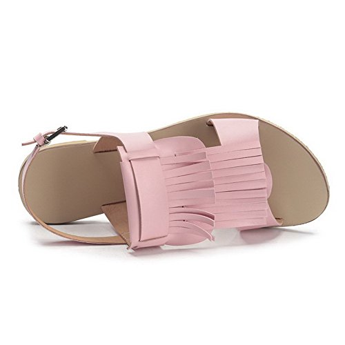 Allhqfashion Donna Materiale Morbido Open Toe Tacchi Fibbia Sandali Solidi Rosa