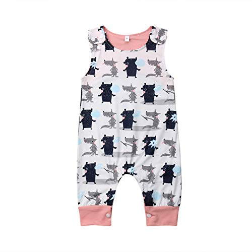 Newborn Girl Boy Unisex Baby Cute Floral Summer Sleeveless One Piece Outfit Clothes,Footless,Sleep & Play (White(Wolf), 18-24 Months) -