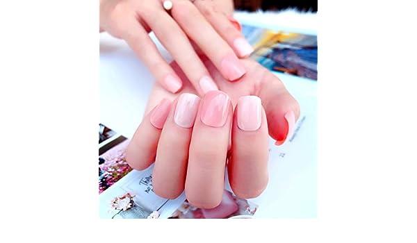 QULIN Uñas postizas Nuevo color rosa puro 3D acrílico clásico ...