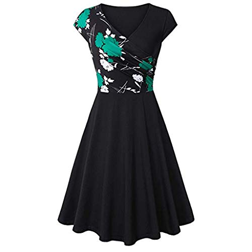 TIFENNY Women's Short Sleeve Cross V- Neck Dresses Daily Wear Vintage Fashion Print Elegant Flared A-Line Dress Green