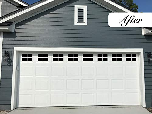 Door Hardware Accessories - Magnetic Garage Door Windows | Decorative Black Window Decals for Two Car Garage | Magnets Hardware | Faux Windows | Perfect for Decoration and Easy Installation (2 Car Garage)