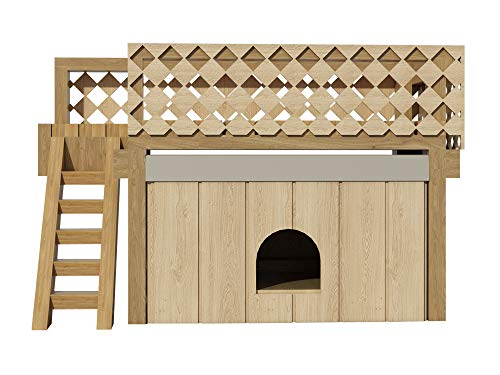 Dog House Plans w/Roof Deck DIY Medium Outdoor Wooden Pet Home Kennel Shelter