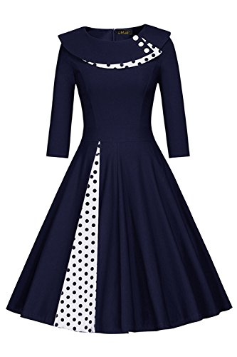 Women's 1950s Vintage Polka Dot Swing Tea Party Dress,Size XL Blue (Hepburn Dot Audrey Polka Dress)