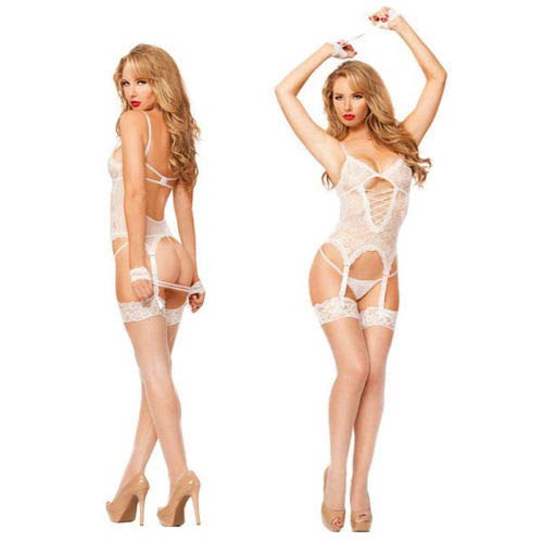 Women Sexy Lingerie Handcuff Gartered Belt Lingerie Midnight Affair Set G-String (White, XL) - Gartered G-string Set