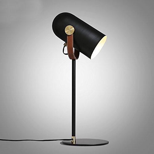 Modern Minimalist Table Lamp Black Painted Wrought Iron Table Lamp Adjustable Leather Table Lamp,Φ20cm H60cm E27 ()