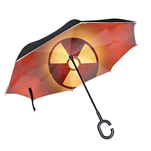 Reverse Folding Umbrella Radioactive Element Golf Umbrella with Reinforced Fiberglass Ribs