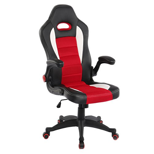 Computer Racing Chair,Julyfox PC Gaming Chair With Adjustable Arms Big and Tall Office Chair Black and Red Color myka's Ergonomic PU Leather and Breathable Mesh Combined