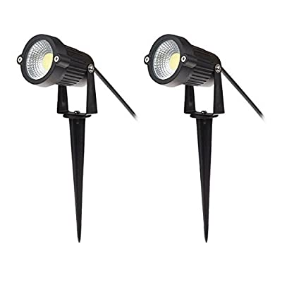 SinoPro Outdoor IP65 Waterproof Decorative Spotlight-6W COB LED Landscape Garden Wall Yard Path Light with Spiked Stand, Pack of 2