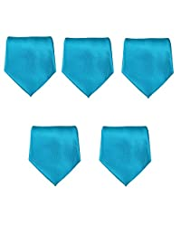 """Mens Formal Tie Wholesale Lot of 5 Mens Solid Color Wedding Ties 3.5"""" Satin Finish"""