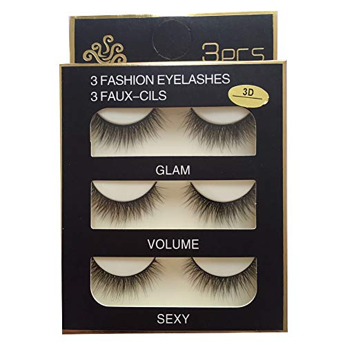 Sunniess Hair Imported Fiber Attractive 3D Mink Handmade Reusable Long Cross False Eyelashes Makeup Thick Natural Black Fake Eye Lashes 3 Pairs(3D-03) ()