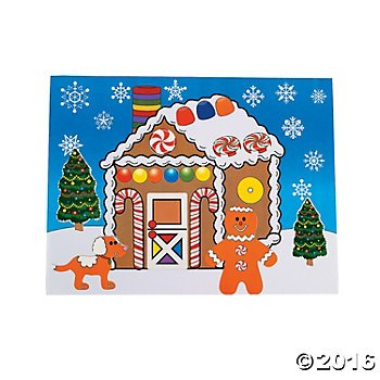 DIY Gingerbread House Sticker Scenes for Christmas Craft 2 (Hollywood Star Couples Costumes)