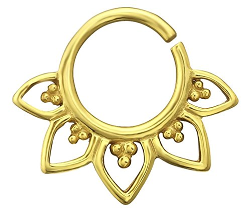 20G 9mm Gold Plated Sterling Silver Lotus Flower Nose/Daith Piercing Hoop by Forbidden Body Jewelry
