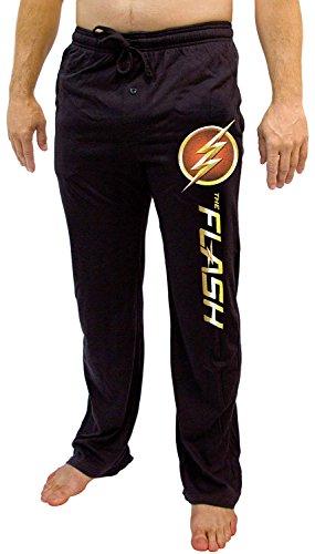 DC Comics The Flash TV Show Logo Men's Pajama Sleep Pants (Large, Black) (Mens Dc Sweatpants)