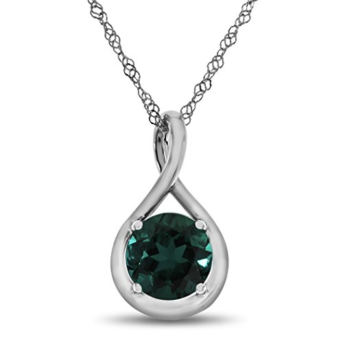 Finejewelers 7mm Round Created Emerald Twist Pendant Necklace Chain Included Sterling (Emerald Twist)
