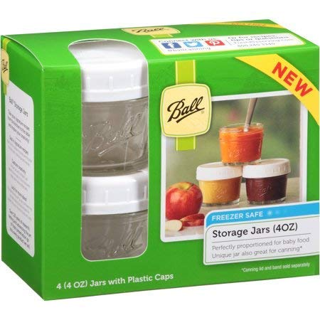 Ball Brand Glass Storage Jars with Plastic Caps - 4 (4oz) Jars and Caps