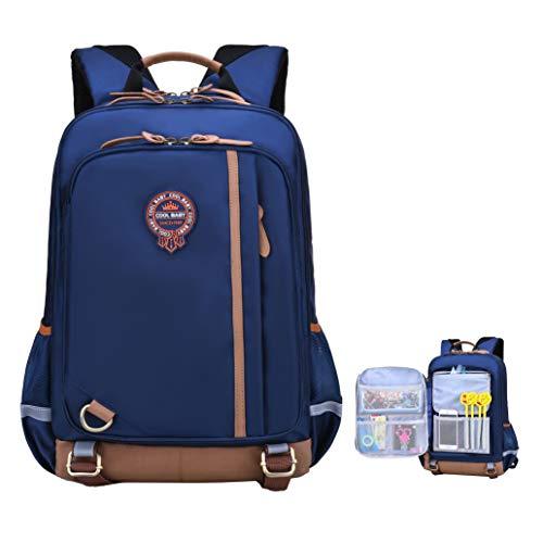(Elementary School Backpack For Boys|Girls|Kids Middle|High School Bags Bookbag (Navy Blue Elementary School Backpack, Small for Grade 1-3))