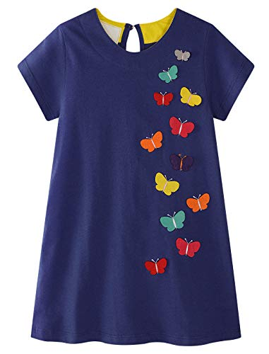 Fiream Girls Cotton Short Sleeves Casual Cartoon Summer Dresses(SY058,7-8 Years)
